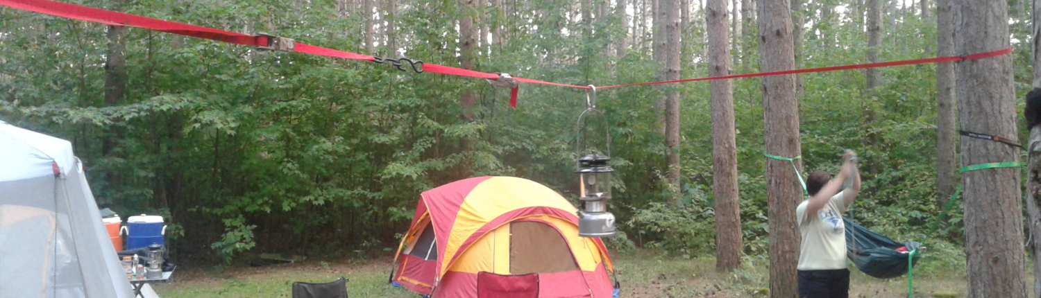 Lantern hung on ratchet strap